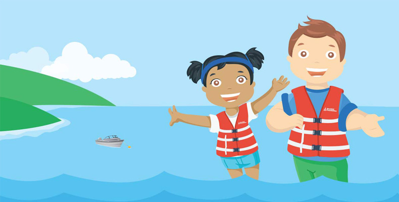 an illustration of children wearing life jackets