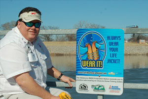 A sign being installed which reads, Wear It. Always wear your lifejacket.