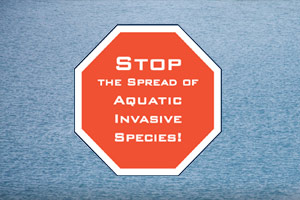 A stop sign reads, Stop the spread of Aquativ Invasive Species!