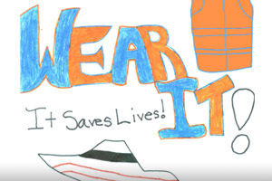A drawing of a powerboat which reads, Wear It! It saves Lives!